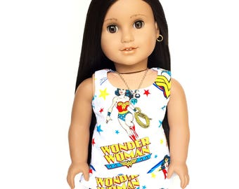 Sleeveless Peplum Top, Wonder Woman, Fandom, White, Red, Yellow, Blue, Fits dolls such as American Girl, 18 inch Doll Clothes
