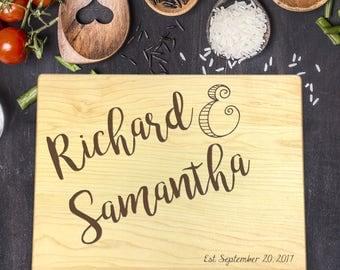 Custom Cutting Board, Custom Cutting Board Wedding, Custom Cutting Board Wood, Wedding Gift, Housewarming Gift, First and Last Name, B-0124