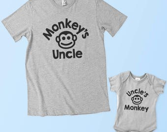 Monkey's Uncle - Uncle's Monkey - Matching Set (Adult & Baby/Toddler)