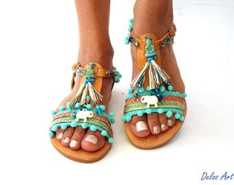 "Sandals, Pom Pom sandals, Blue leather Sandals, boho Sandals, ""Gaia\"" Ancient Greek Sandals, barefoot, hippie leather shoes, Summer shoes"