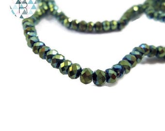 200 mini beads green faceted glass 2.5 mm / oval beads