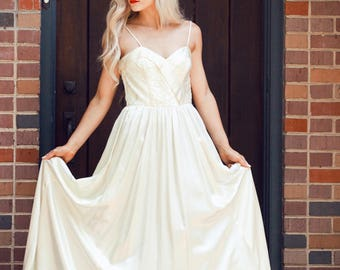 Vintage Flowy Ivory Satin Ruched Gown
