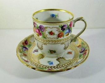 Vintage Schumann Bavaria Demitasse Teacup & Saucer, Flat Espresso Cups, Dresden Flowers and Gold Scroll, Made in Germany US Zone, 1945-52