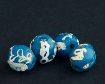 V63-  4 Venetian fancy blue beads
