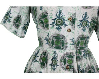 1950's Green Pattern Printed Day Dress - Size 12