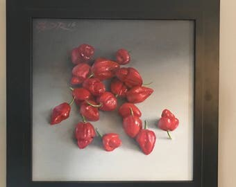 Peppers Wall Art Original Oil Painting Vegetable Wall Art Food Art Scorpion pepper painting Kitchen Painting Colorful Kitchen Decor Art