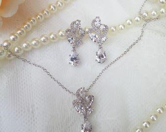 Crystal bridal set, zirconia wedding set, classic wedding jewelry, zircon jewellery, bridal jewellery, wedding jewelry, zircon jewelry