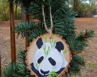 Panda Hand painted wood slice ornament