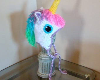 Unicorn Hat / Made to Order / Any Size - Baby to Adult / Crochet / Handmade / Rainbow / Birthday Gift Idea / Animal Character Hat