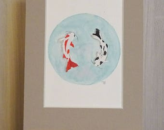 Koi Carp - Original watercolor painting-