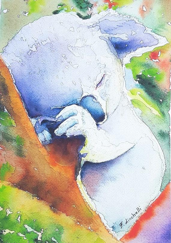 Koala watercolor, Giclée fine art print, original painting by Francesca Licchelli, home office decoration, baby room, nursery, child birth.