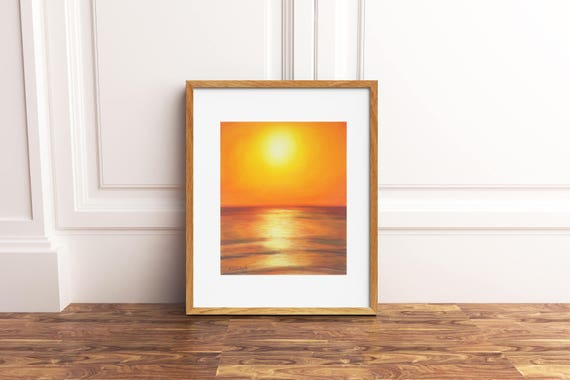 Sea sunset, original pastel by Francesca Licchelli, gift idea for art lovers, traditional home office decoration, hanging  on the wall.