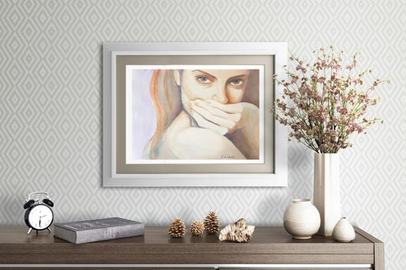 Woman portrait. Sexy girl. Original Watercolor by Francesca Licchelli. Ooak, gift idea, wall art. Home decoration. Living art. Lounge decore
