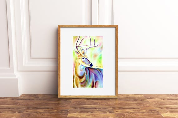 Colored Deer, wild animal, original artwork by Francesca Licchelli, gift idea for boys and children, child's bedroom decoration, nursery.