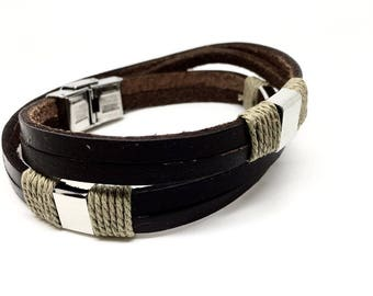 Italian stylish, simple and easy to wear Men's Jewellery Brown Leather Bracelet with Solid Stainless Steel Design. Gift box included- 10 in.