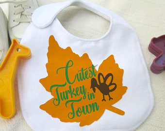 Cutest Turkey in Town, Thanksgiving Digital Download SVG Cut File, Vinyl Cutting Design, Tshirt or Bib Design, SVG, MTC, Studio3