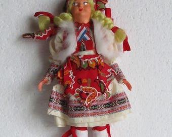 Vintage Yugoslavian Souvenir Doll, Balkans Folk Dress Collectible Doll, European Souvenir Traditional Folk Doll, Retro Collectible Doll 60s