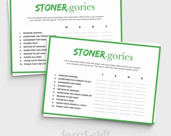 Stoner Scattergories Game - Printable Game for Pot Lovers - Instant Download - Fun Printable Game for Stoners