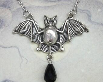 Flying Bat Necklace - Gothic Goth Halloween Silver-tone & Black Glass Vampire Bat Pendant
