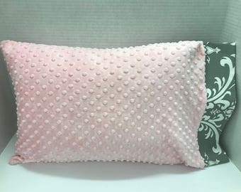 Childrens Pillow, Toddler Pillow Case w/ Pillow, Pink  Minky Dot, Gray Damask, Girl Gift, Toddler Gift, Travel Pillow, Personalized Pillow
