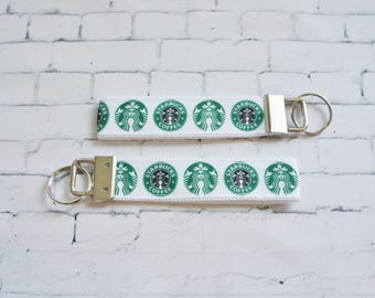 STARBUCKS key Fob, wristlet keychain, Coffee key FOB, white grosgrain ribbon, gift for a coffee lover