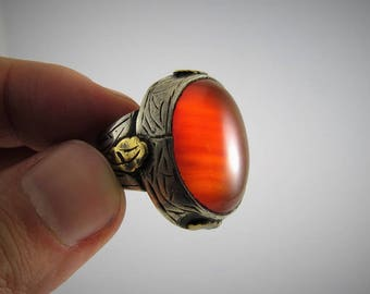 Agate ring - Afghan ring - Agate beads - Natural agate