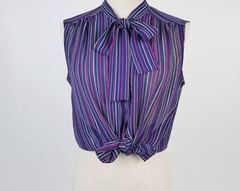 Pink White Strip Ascot Collar Sleeveless Navy Vintage Blouse Size M