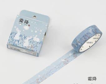 Snow Bunnies - Winter Washi Tape - Rabbit Washi Tape - Snow Washi Tape - Winter Bunnies - White bunnies (15mm X 7m)