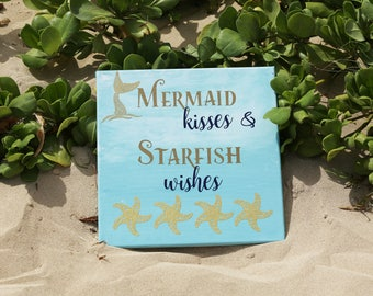 Mermaid Kisses and Starfish wishes - Large 12x12 Canvas