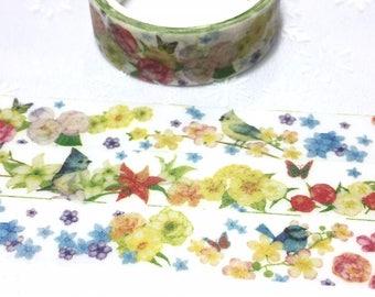 little birds washi masking tape 5M x 1.5 cm rare bird colorful flower garden bird deco tape sticker bird decor cute planner tape gift
