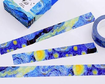Starry night  washi tape 7M Van Gogh Starry Night Washi masking tape deep blue sky oil painting washi tape decor diary planner gift