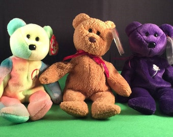 Vintage Set of 3 Ty Beanie Baby Bears/Beanie Babies/Peace Bear/Curly Bear/Princess Di Bear