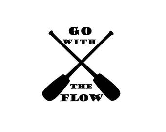 Go With The Flow Canoe Paddle Vinyl Decal