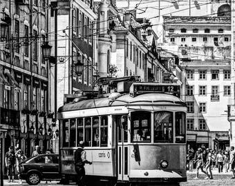 Lisbon Tram - Lisbon Print - Lisbon Photography - Wall Art  - Neutral Decor - Black and White - Fine Art Photography  - Conductor BW - 0115