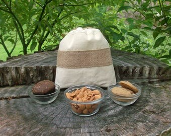 Medium Snack Bag  - Vegan Food Bags -Eco Friendly Food Bags -  Fabric Food Bags - Cookie Bags - Muffin Bags  - Biodegradable