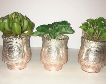 Succulent Planter in Blush Pink Mercury Glass, Faux Succulent, Desk Accessory, Artificial Succulent Arrangement, Succulent Gift