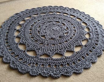 Grey rug, Round Rug, Handmade Rug, Grey Doily Rug, Crochet Rug, Nursery Rug, Crochet Doily Rug, Ready to Ship