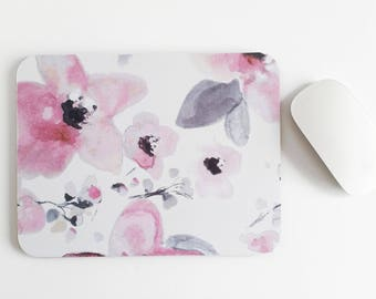 Rectangular mouse mat / mouse pad in my Pretty in blush design, from my original watercolour
