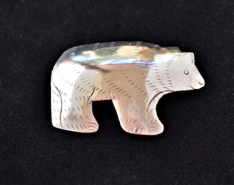 Vintage Incised Metal Bear Statement Brooch California State Animal Silver Tone Retro Jewelry 1 x 1.75""