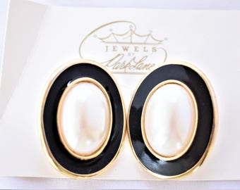 Vintage 80s Park Lane Oval Clip On Statement Earrings Faux Pearl Black White Gold Tone Signed Retro Costume Jewelry 1.5""