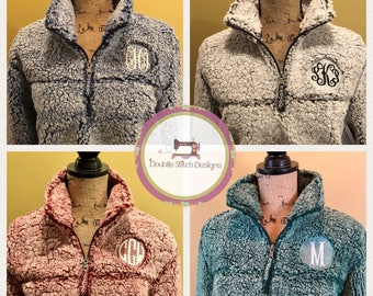 Sherpa pullover, monogrammed sherpa, sherpa quarterzip, plus size available, unisex sherpa jacket, sherpa sweater