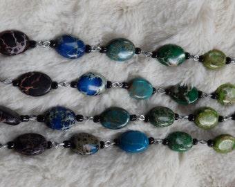 Handmade Rainbow SeaSediment Jasper Bracelet/Necklace