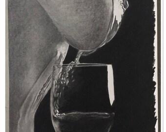 "Table boudoir in pencil ""Drink me"""