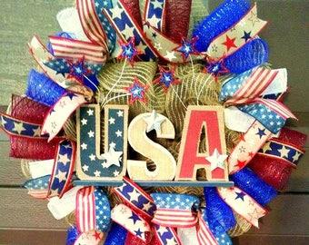 Summer Wreath for Front Door Wreath, Patriotic Wreath, 4th of July Wreath, 4th of July Decor, Patriotic Decor, Country Home Decor, Americana