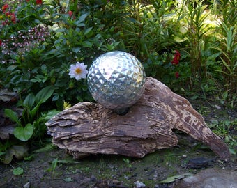 Silver Gazing Ball on Reclaimed Wood