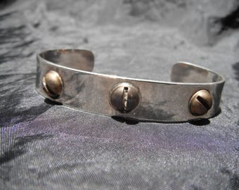 Sterling Silver Cuff With Brass Screws Industrial look