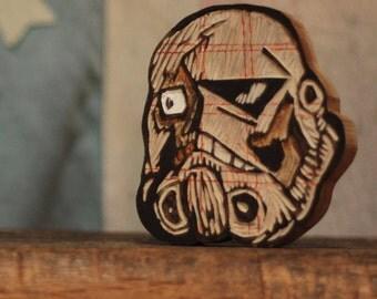 plaid trooper star wars stormtrooper woodcarving skull