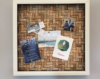 Cork Note Board/Cork Board - Pin Board hand crafted from recycled wine corks in Herringbone pattern with Awesome Hemingway quote on the side