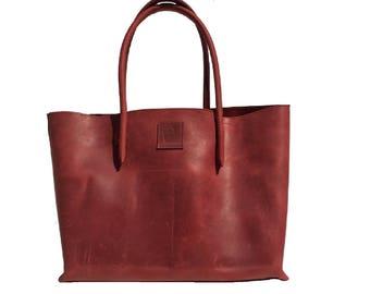 Big Shopper leather bag red Ledershopper vintage design used look leather handmade
