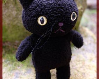 Black cat plushie plush with custom yellow green eyes OOAK